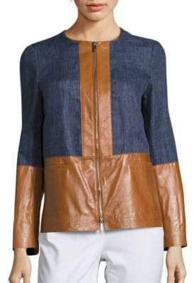 Lafayette 148 New York Isaiah Leather Paneled Jacket