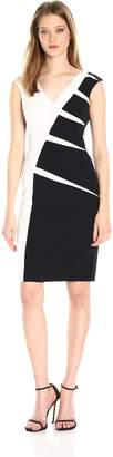 Adrianna Papell Women's Color Blocked Stretch Crepe Sheath Dress, Black/Ivory