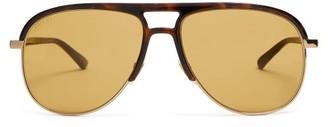 Gucci Aviator Acetate Sunglasses - Mens - Brown