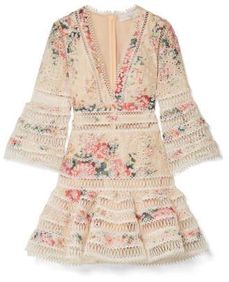 Zimmermann Laelia Floral-print Broderie Anglaise Cotton Mini Dress - Ecru