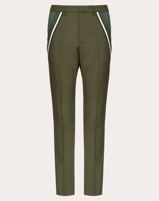 Valentino Wool Trousers With Contrasting Pocket Man Military Green Mohair 16% 48