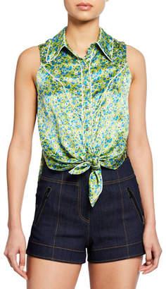 Cinq à Sept Leon Floral Tie-Front Sleeveless Top