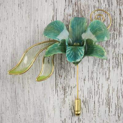 Sweet Sky Handcrafted Bluish-Green Natural Orchid Gold-Plated Stickpin