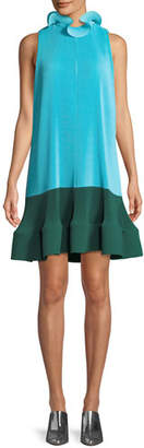 Tibi Camellia Pleated Colorblock Ruffle Dress