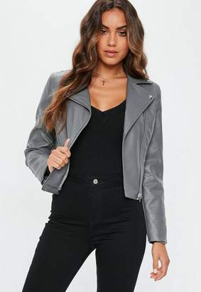 Missguided Gray Ultimate Faux Leather Biker Jacket