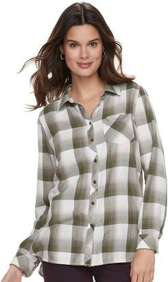Sonoma Goods For Life Women's SONOMA Goods for Life High-Low Plaid Shirt