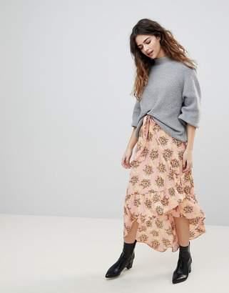 Vero Moda Floral Asymetric Ruffle Skirt