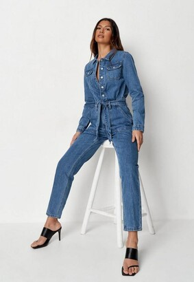 Missguided Blue Boiler Button Through Denim Romper