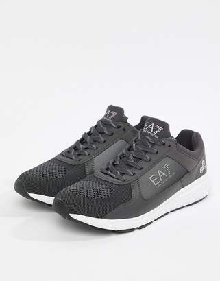 EA7 Knitted Racer Sneakers In Gray