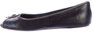Alexander McQueenAlexander McQueen Zip-Trimmed Leather Flats