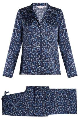 Derek Rose - Brindisi 23 Silk Satin Pyjama Set - Womens - Navy Print
