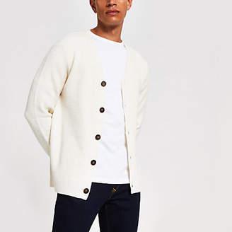 River Island Ecru long sleeve button knitted cardigan