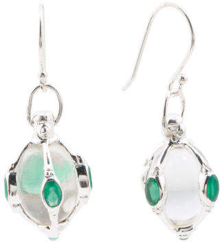 Made In India Sterling Silver Quartz Green Onyx Earrings