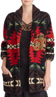 Ralph Lauren 50th Anniversary Shawl-Collar Intarsia Cashmere-Wool Cardigan w/ Embroidered Crest Detail