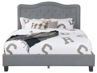 Leonel Signature Queen Size Upholstered Panel Bed w/ Nailhead Trim, Multiple Colors