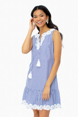 Sail to Sable Blue Sleeveless Ruffle Hem Dress