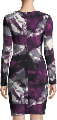Donna Karan Long-Sleeve Printed Twist-Front Dress