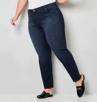 Avenue Plus Size Luxe Sateen 5 Pocket Jean Dark Wash