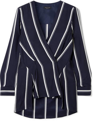 Rag & Bone Debbie Wrap-effect Striped Silk Crepe De Chine Top - Midnight blue