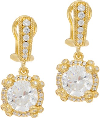 Judith Ripka 14K Clad 4.70 cttw Diamonique Drop Earrings