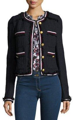 Veronica Beard Eclipse Cropped Tweed Jacket, Black $595 thestylecure.com