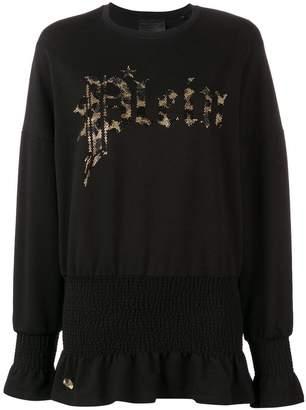 Philipp Plein embellished logo sweatshirt dress