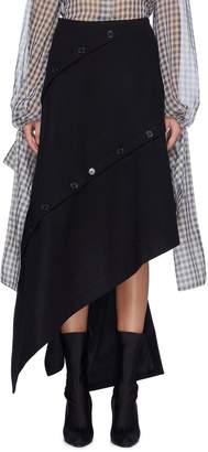 rokh Asymmetric slant button drape panel skirt