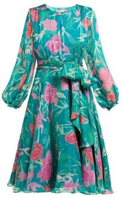 Beulah - Nandita Floral Print Silk Chiffon Dress - Womens - Green Multi