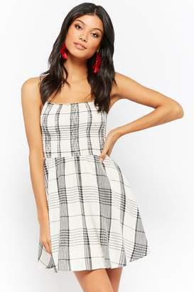 Forever 21 Plaid Smocked Cami Mini Dress