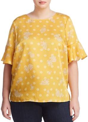 Vince Camuto Plus Printed Fluted-Cuff Blouse