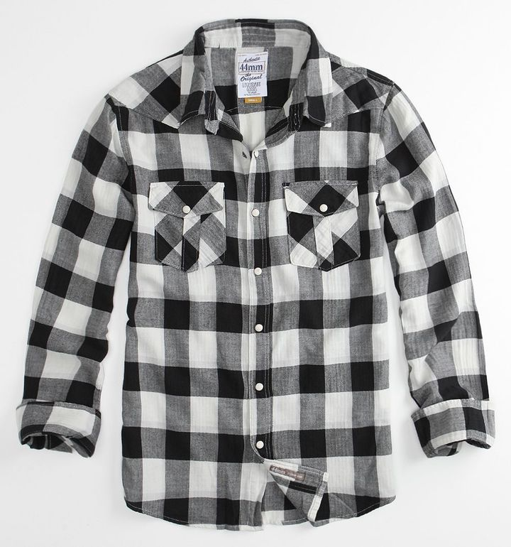 44mm Herringbone Plaid Woven Shirt