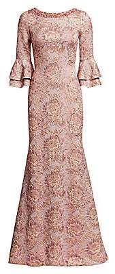 Theia Women's Metallic Floral Jacquard Bell-Sleeve Trumpet Gown