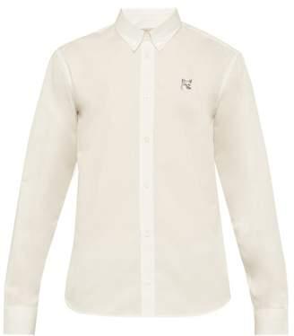MAISON KITSUNÉ Fox Embroidered Cotton Poplin Shirt - Mens - Cream