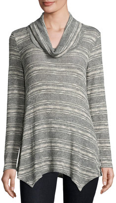 Bobeau Cowl-Neck Striped Knit Top, Gray $49 thestylecure.com