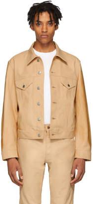 Helmut Lang Beige Leather Masc Trucker Jacket