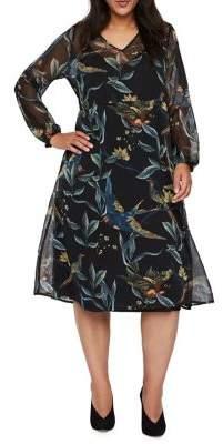 Junarose Plus Revea Long Bishop-Sleeve Midi A-Line Dress