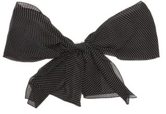 Saint Laurent Polka Dot Silk Chiffon Scarf Brooch - Womens - Black