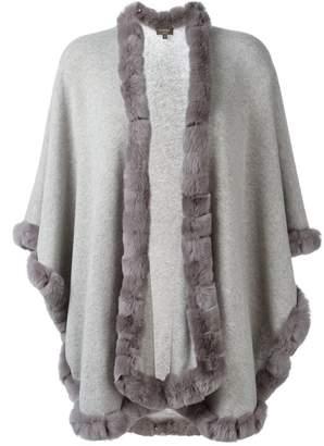 N.Peal cashmere furry trim cardi-coat