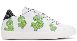 Leather Crown cartoon-print sneakers