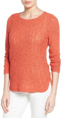 Petite Women's Nic+Zoe Sheer Dusk Cotton Blend Layering Sweater $138 thestylecure.com