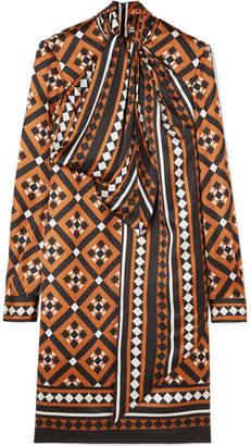 Mary Katrantzou Lyonel Pussy-bow Printed Satin Dress - Camel