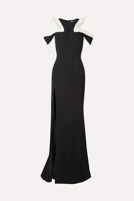 Thierry Mugler Ruffled Cold-shoulder Cady Gown - Black