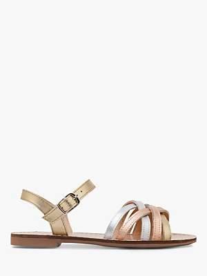 Boden Mini Children's Leather Strappy Sandals, Metallic Gold
