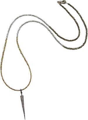 Dripping In Gems Diamond Arrow Pendant on Tri-Color Graduated Hematite & Pyrite