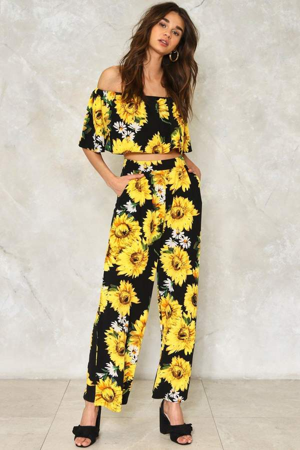 nastygal Get Some Sunflower Floral Pants