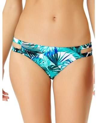 No Boundaries Juniors' Tropical Print Strappy Scoop Swim Bikini Bottom