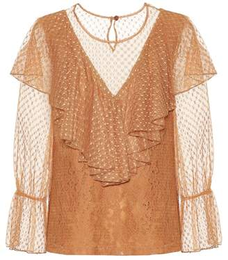 See by Chloe Layered lace and cotton top
