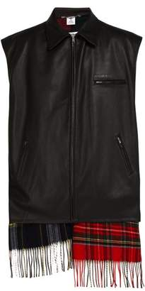 Vetements Scarf Lined Perforated Leather Gilet - Mens - Black