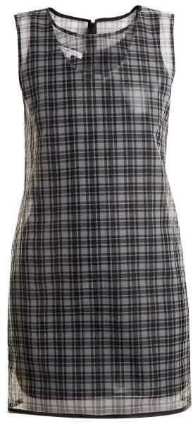 Round-neck checked semi-sheer dress