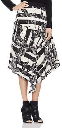 Vince Camuto Asymmetric Tropical Leaf Stripe Skirt